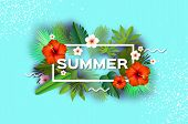 Red Hibiscus Flower. Tropical Summer Day.summer Holidays On Sky Blue. Palm Leaves, Plants, Flowers F poster
