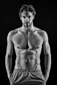 Man Athlete With Fit Body. Sportsman With Six Pack And Ab Muscles. Macho With Sexy Torso And Chest.  poster