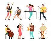 Music Band Musicians With Musical Instruments Playing Music On Stage Vector Set Isolated. Concert Gr poster