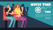 Film Cinema Festival Poster. Movie Time, Couple Date At Theater Vector Background. Illustration Of F poster