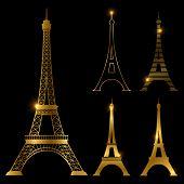 Different Golden Eiffel Tower Vector Landmark Set. Paris Symbol Icons. France Symbol Monument In Gol poster