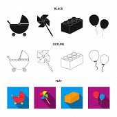 Stroller, Windmill, Lego, Balloons.toys Set Collection Icons In Black, Flat, Outline Style Vector Sy poster