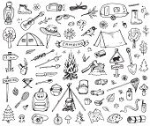 Set Of Doodle Forest Camping Design Elements. Hand Drawn Vector Illustrations Isolated On A White Ba poster