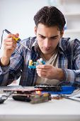 Computer hardware repair and fixing concept by experienced techn poster