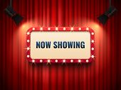 Retro Cinema Or Theater Frame Illuminated By Spotlight. Now Showing Sign On Red Curtain Backdrop. Vi poster