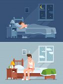 Man Sleeping Under Duvet At Night, Waking Up Morning With Bed Hair And Feeling Sleepy And Tired. Sle poster