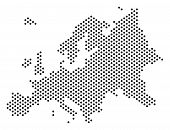 Dotted Europe Map. Vector Territory Scheme. Cartographic Concept Of Europe Map Formed With Sphere Do poster