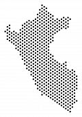 Pixel Peru Map. Vector Territory Plan. Cartographic Composition Of Peru Map Created With Spheres. poster