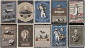 Vintage Colored Space Posters With Spaceships Ufo Planets Astronauts Asteroids Mars Colonization And poster
