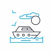 Private Yacht Vector Thin Line Stroke Icon. Private Yacht Outline Illustration, Linear Sign, Symbol  poster