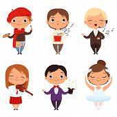 Cartoon Illustrations Of Various Creative Kids. Different Professions. Child Artist, Ballerina Singe poster