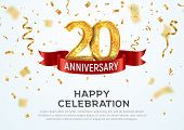 20 Years Anniversary Vector Banner Template. Twentieth Year Jubilee With Red Ribbon And Confetti On  poster