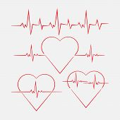 Heart With Cardiogram, Heart Rate, Cardiogram Measurement, Medicine, Vector Image poster