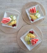 Tropical Fruits Assortment On A White Plate. Fruit Plate For Breakfast Pn Plate poster
