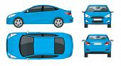 Set Of Sedan Cars. Compact Hybrid Vehicle. Eco-friendly Hi-tech Auto. Isolated Car, Template For Bra poster