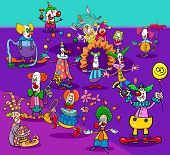 Cartoon Illustration Of Funny Circus Clowns Or Jokers Characters Group poster