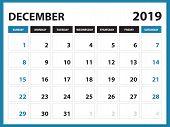 Desk Calendar For December 2019 Template, Printable Calendar, Planner Design Template,  Week Starts  poster