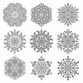 Set Of Vector Snowflakes. Black And White Winter Ornaments. Snowflakes Collection. Snowflakes For Ba poster