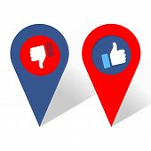 Like And Dislike Icon. Navigation Icon. Thumbs Up And Thumb Down, Hand Or Finger Illustration. Symbo poster
