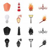 Led Light, Street Lamp, Match.light Source Set Collection Icons In Black, Cartoon Style Vector Symbo poster