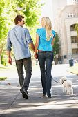 pic of walking away  - Couple walking with dog in city street - JPG