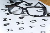 foto of snellen chart  - A pair of black reading glasses or spectacles on an Snellen eye chart - JPG