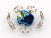 stock photo of all seeing eye  - All Seeing Eyes around earth - JPG