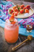Strawberry Smoothie Juice ,  On Topping Honey Tasty For Summer On Wood Table , Sweet Water Juice For poster