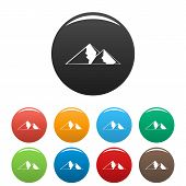 Mountain For Extremal Icon. Simple Illustration Of Mountain For Extremal Vector Icons Set Color Isol poster