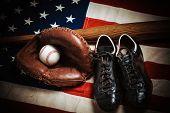 A Group Of Vintage Baseball Equipment, Bats, Gloves, Baseballs American Flag Background poster