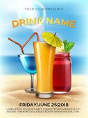 Summer Club Cocktail Party Poster Template. Realistic 3d Orange Juice Smoothie Mason Jar, Alcohol Dr poster