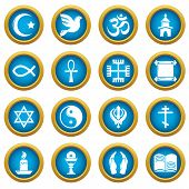 Religion Icons Set. Simple Illustration Of 16 Religion Vector Icons For Web poster