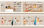 Modern Pet Shop With Cages Of Animal, Animal Health Care Conceptual Vector Illustration. poster