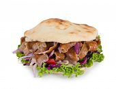 Turkish Doner Kebab Sandwich isolated on white background. poster