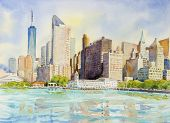 Manhattan Urban Skyscrapers In New York City. Architecture Line Skyline Illustration. Watercolor Pai poster