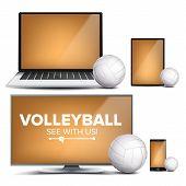 Volleyball Application Vector. Field, Volleyball Ball. Online Stream, Bookmaker, Sport Game App. Ban poster