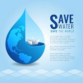 Save Water Save The World Concept With Paper Boat In Drop Water And Earth Map Texture On Abstract Wa poster