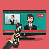 Breaking News Concept. News On Television With Remote Control. News Anchor Broadcasting The News Wit poster