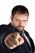 image of bitchy  - Businessman shows the index finger isolated on white background - JPG