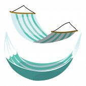 Set Of Cartoon Hammocks. Collection Of Hammocks On A White Background. Drawing For Children. Summer  poster