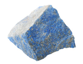 picture of lapis lazuli  - A splinter of lapis lazuli isolated on a white background - JPG