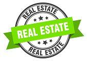 Real Estate Label. Real Estate Green Band Sign. Real Estate poster