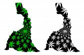 Far North Region (regions Of Cameroon, Republic Of Cameroon) Map Is Designed Cannabis Leaf Green And poster