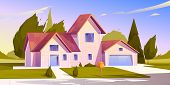 Suburban House, Residential Cottage, Real Estate Countryside Building Exterior. Two Storey Dwelling  poster