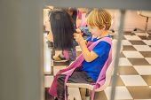 Boy Hairdresser, Day Of Choice Of Profession, Play At The Hairdresser In The Childrens Beauty Salon, poster
