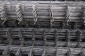 Rebar, Reinforcing Bars Or Steel Close Up, Reinforcement Steel, Wires Mesh Of Steel Used As A Tensio poster