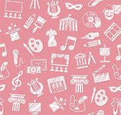 Culture And Art, Seamless Pattern, Shading Pencil, Pink, Vector. Leisure And Cultural Activities. Cu poster