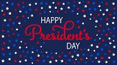 Happy President Day In American Style On Blue Background. Patriotic Illustration. Blue Abstract Back poster