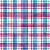 Watercolor Stripe Plaid Seamless Pattern. Colorful Teal Blue Pink Stripes On White Background. Water poster