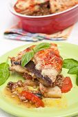 picture of greek food  - serving of  greek moussaka with eggplants - JPG